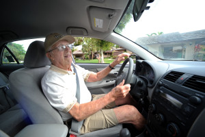 fl-older-drivers-b, west of Boynton Beach, 1/26/2011 -- Portrait of Morry Wasserman, who at 93-years-old, still drives every day and says he has never had an accident, drives away from his home west of Boynton Beach.  Sun Sentinel, Mark Randall